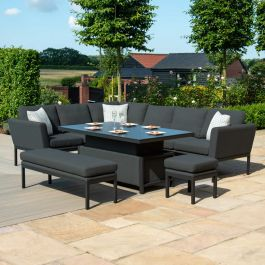 Maze Lounge Pulse Garden Corner Sofa Dining Set with Rectangular Rising Table in Charcoal