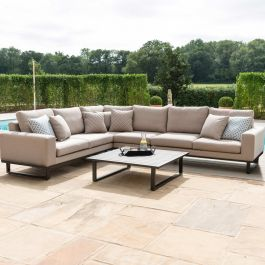 Maze Lounge Ethos Large Garden Corner Sofa Set and Coffee Table in Taupe