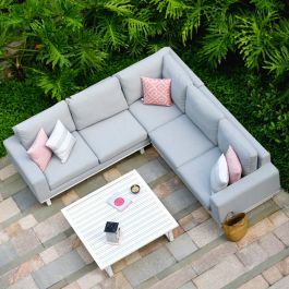 Maze Lounge Ethos Garden Corner Sofa Set and Coffee Table in Lead Chine