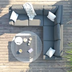 Maze Lounge Ethos Garden Corner Sofa Set and Coffee Table in Flanelle