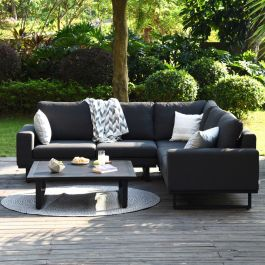Maze Lounge Ethos Garden Corner Sofa Set and Coffee Table in Charcoal