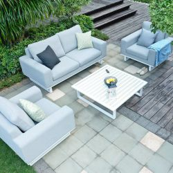 Maze Lounge Ethos Garden 2 Seater Sofa Armchairs and Coffee Table Set in Lead Chine