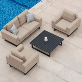 Maze Lounge Ethos Garden 2 Seater Sofa Armchairs and Coffee Table Set in Taupe