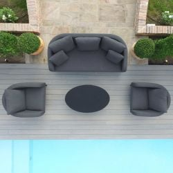 Maze Lounge Ambition Garden 3 Seater Sofa Armchair and Coffee Table Set in Flanelle