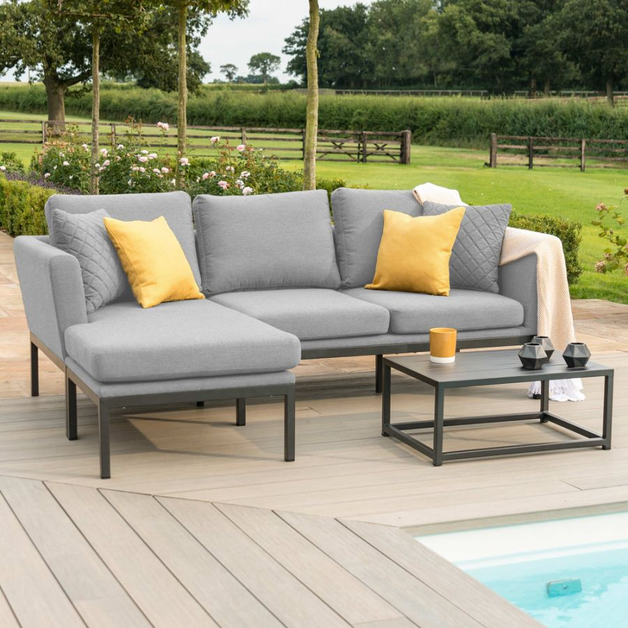 Maze Lounge Pulse Garden Chaise Sofa and Coffee Table Set in Flanelle