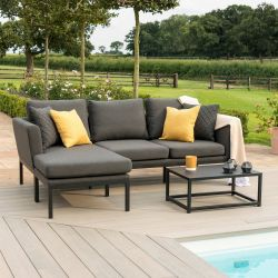 Maze Lounge Pulse Garden Chaise Sofa and Coffee Table Set in Charcoal
