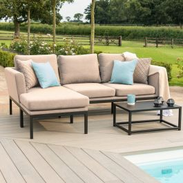 Maze Lounge Pulse Garden Chaise Sofa and Coffee Table Set in Taupe