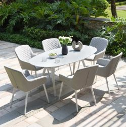 Maze Lounge Zest Garden 6 Seater Oval Dining Table and Chairs Set in Lead Chine