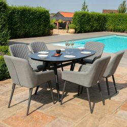 Maze Lounge Zest Garden 6 Seater Oval Dining Table and Chairs Set in Flanelle