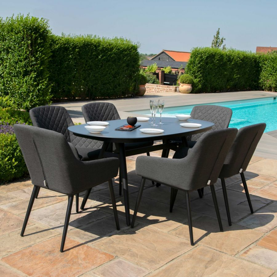 Maze Lounge Zest Garden 6 Seater Oval Dining Table and Chairs Set in Charcoal