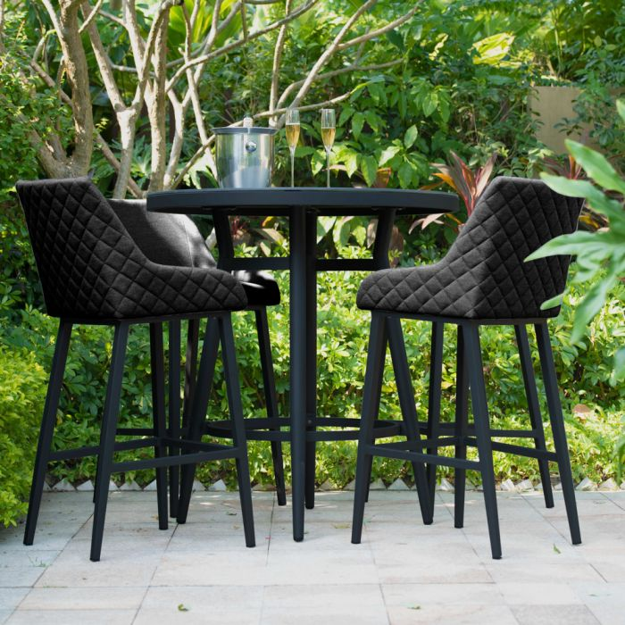 Maze Lounge Regal Garden Patio 4 Seater Round Table and Stools Bar Set in Charcoal