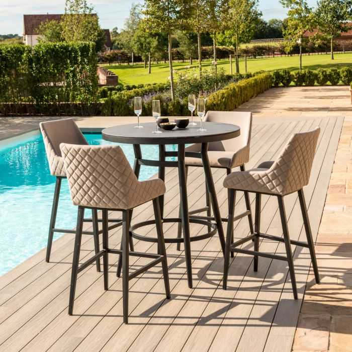 Maze Lounge Regal Garden 4 Seater Round Table and Bar Stools Set in Taupe