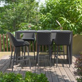 Maze Lounge Regal Garden 6 Seater Rectangular Table and Bar Stools Dining Set in Charcoal