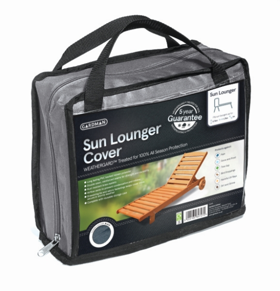 Gardman 175cm x 100cm Sun Lounger Furniture Cover - Grey