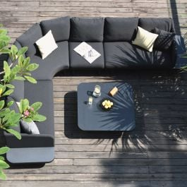 Maze Lounge Cove Garden Corner Sofa and Coffee Table Set in Charcoal