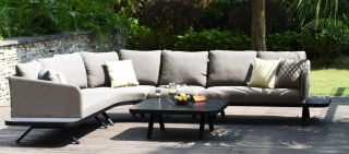Maze Rattan Cove Garden Corner Sofa and Coffee Table Set in Taupe