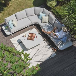 Maze Lounge Cove Large Garden Corner Sofa and Coffee Table Set in Lead Chine