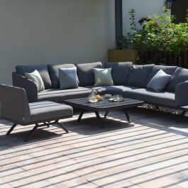 Maze Lounge Cove Large Garden Corner Sofa and Coffee Table Set in Flanelle