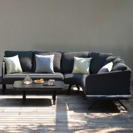 Maze Lounge Cove Large Garden Corner Sofa and Coffee Table Set in Charcoal