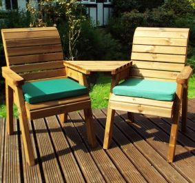 Charles Taylor Wooden Garden Twin Angled Companion Set with Green Cushions and Fitted Cover
