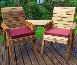 Charles Taylor Wooden Garden Twin Angled Companion Set with Burgundy Cushions and Fitted Cover