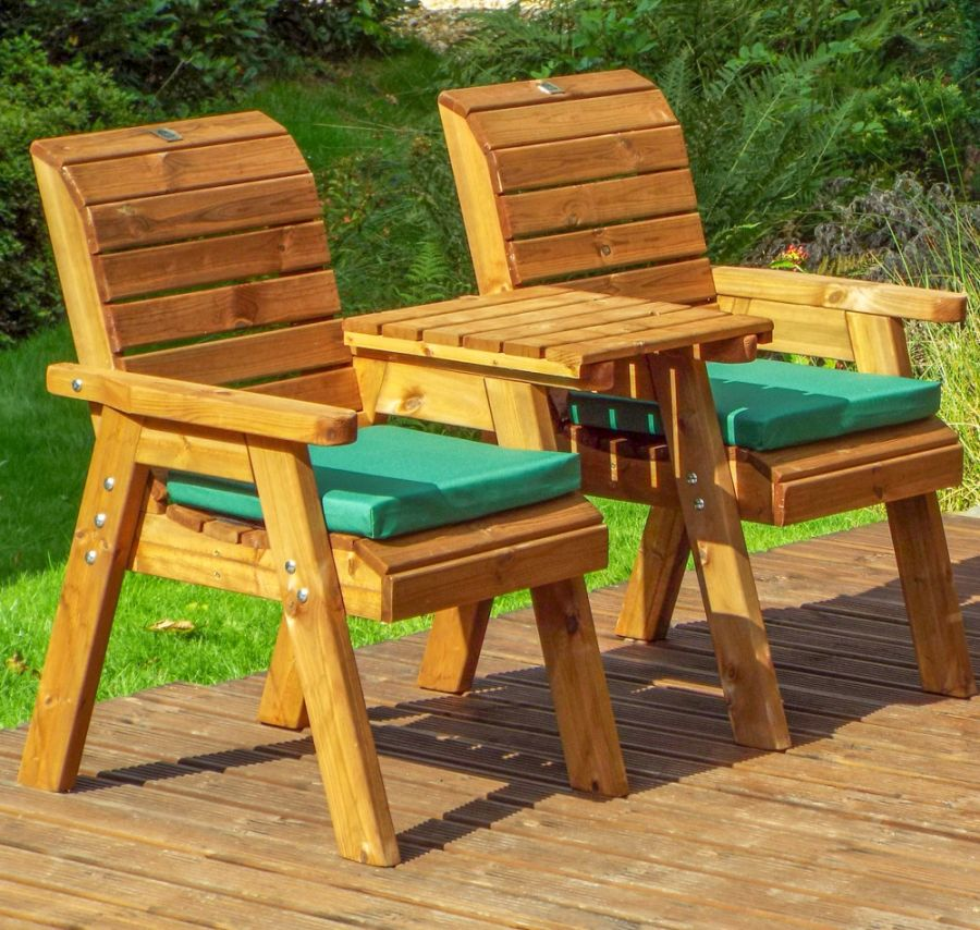 Charles Taylor Wooden Garden Twin Companion Set with Green Cushions and Fitted Cover