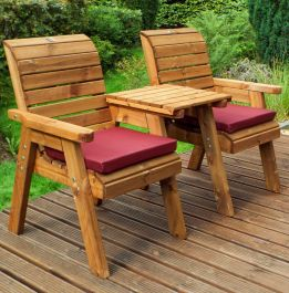 Charles Taylor Wooden Garden Twin Companion Set with Burgundy Cushions and Fitted Cover