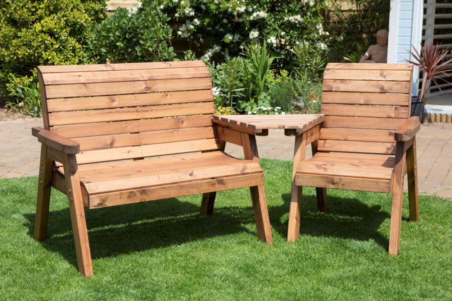 Charles Taylor Wooden Garden 3 Seat Angled Companion Set with Green Cushions and Fitted Cover