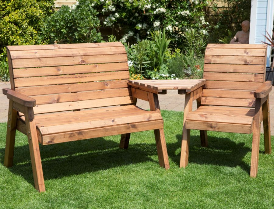 Charles Taylor Wooden Garden 3 Seat Angled Companion Set with Burgundy Cushions and Fitted Cover