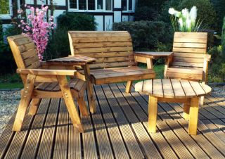 Charles Taylor Wooden Garden 4 Seater Set Round with Green Cushions