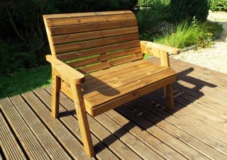 Charles Taylor Wooden Garden Traditional 2 Seater Bench with Green Cushions and Fitted Cover