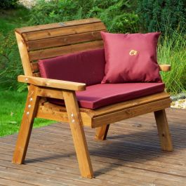 Charles Taylor Wooden Garden Traditional 2 Seater Bench with Burgundy Cushions and Fitted Cover