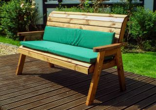 Charles Taylor Wooden Garden 3 Seater Winchester Bench with Green Cushions and Fitted Cover