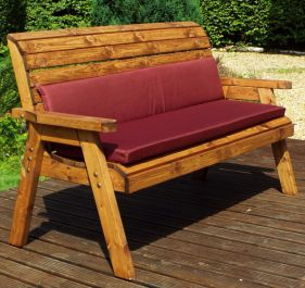 Charles Taylor Wooden Garden 3 Seater Winchester Bench with Burgundy Cushions and Fitted Cover