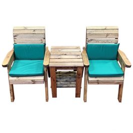Charles Taylor Wooden Garden Deluxe Companion Set with Green Cushions