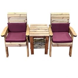 Charles Taylor Wooden Garden Deluxe Companion Set with Burgundy Cushions
