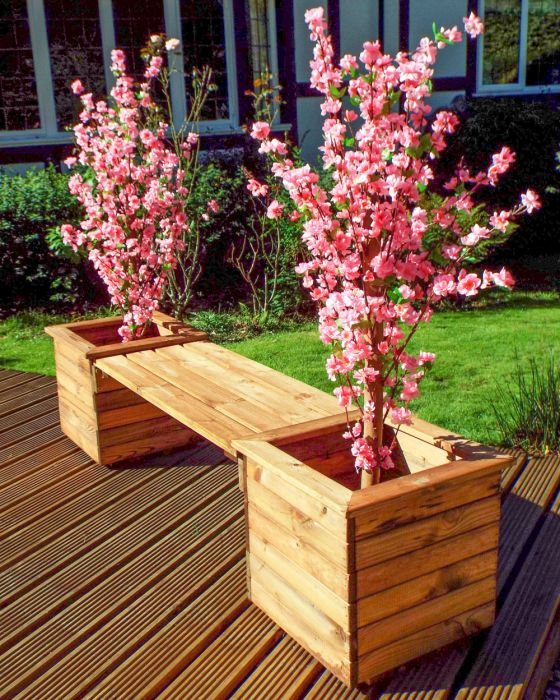 Charles Taylor Wooden Garden Deluxe Planter Bench with Burgundy Cushions