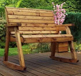 Charles Taylor Wooden Garden Rocking Bench with Green Cushions and Standard Cover