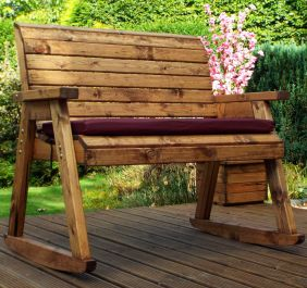 Charles Taylor Wooden Garden Rocking Bench with Burgundy Cushions and Standard Cover