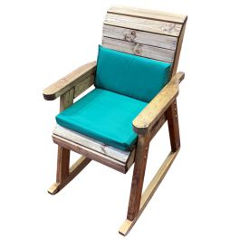 Charles Taylor Wooden Garden Rocking Chair with Green Cushions and Fitted Cover