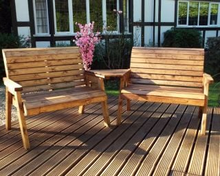 Charles Taylor Wooden Garden Twin Bench Angled Set with Green Cushions and Standard Covers