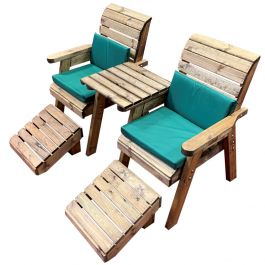 Charles Taylor Wooden Garden Deluxe Lounger Set with Green Cushions and Fitted Cover