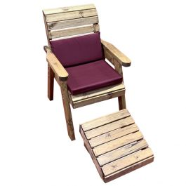 Charles Taylor Wooden Garden Lounger with Burgundy Cushion and Fitted Cover