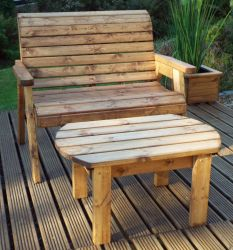 Charles Taylor Wooden Garden Deluxe Bench Set with Green Cushion