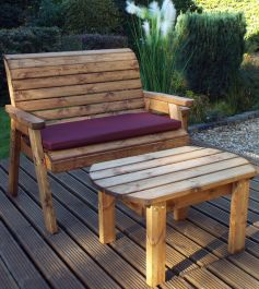Charles Taylor Wooden Garden Deluxe Bench Set with Burgundy Cushion