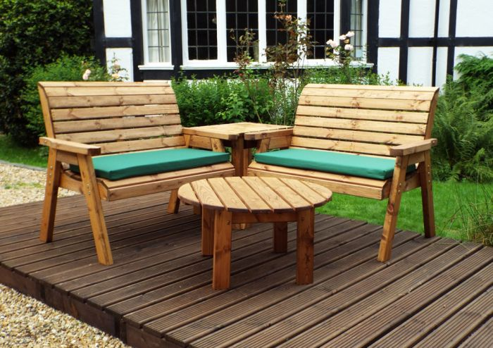 Charles Taylor Wooden Garden 4 Seater Corner Set with Green Cushions
