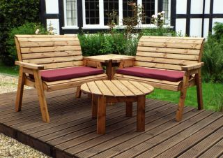 Charles Taylor Wooden Garden 4 Seater Corner Set with Burgundy Cushions