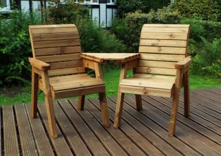 Charles Taylor Wooden Garden Twin Angled Companion Set Gold