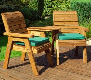 Charles Taylor Wooden Garden Twin Angled Companion Set Gold with Green Cushions and Fitted Cover