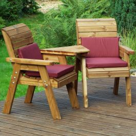 Charles Taylor Wooden Garden Twin Angled Companion Set Gold with Burgundy Cushions and Fitted Cover